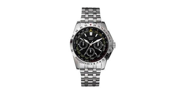 Pánské stříbrné hodinky z nerezové oceli s černým ciferníkem Guess