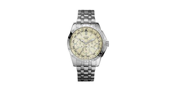 Pánské stříbrné hodinky z nerezové oceli s krémovým ciferníkem Guess