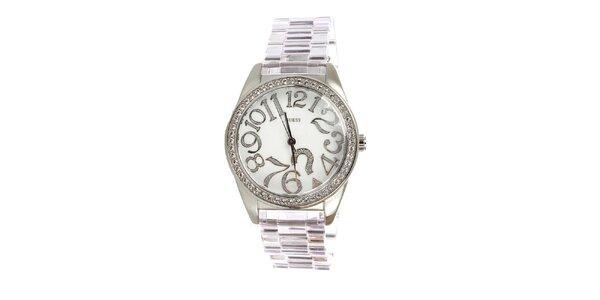 Dámské stříbrné hodinky Guess s bílým ciferníkem