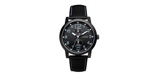 Pánské černé hodinky s modrými detaily Guess
