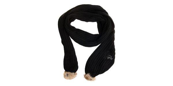 Dámská černá šála Gas s kožíškem
