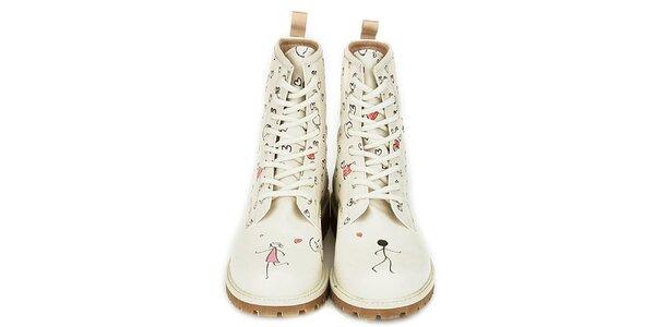 Dámské krémově bílé kotníkové boty s potiskem Dogo