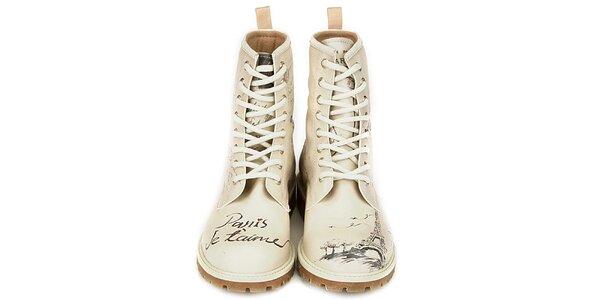 Dámské krémově bílé kotníkové boty s motivem Paříže Dogo