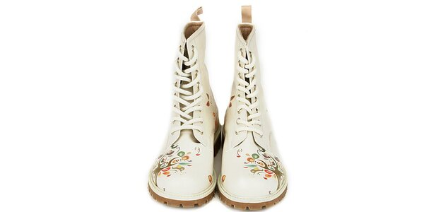 Dámské krémově bílé kotníkové boty s přírodním motivem Dogo