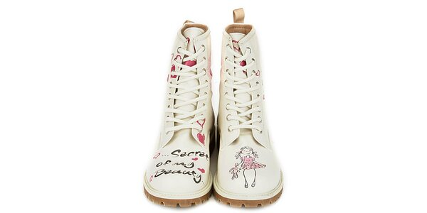 Dámské krémově bílé kotníkové boty s parádním potiskem Dogo