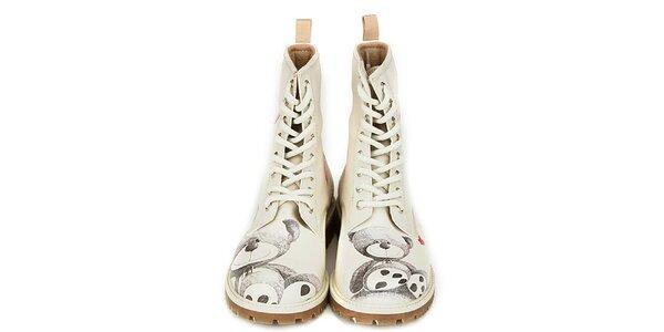 Dámské krémově bílé kotníkové boty s potiskem medvídka Dogo