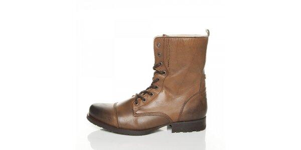 Pánské světle hnědé kotníčkové boty Guess