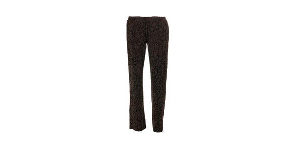 Tmavě šedé dámské kalhoty značky DKNY se vzorem