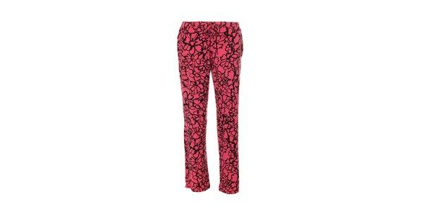 Růžové dámské kalhoty značky DKNY se vzorem