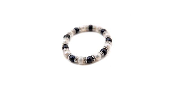 Dámský náramek z černých a bílých perel Orchira