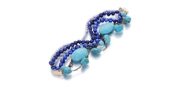 Dámský modro-tyrkysový náramek s perlami Orchira