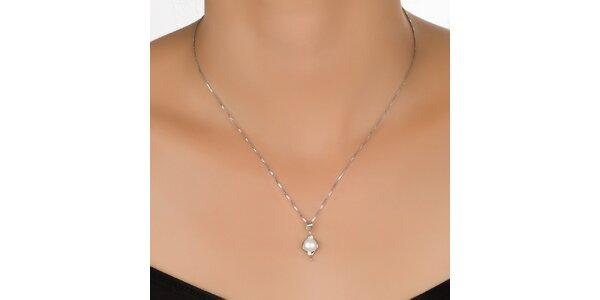 Dámský stříbrný přívěsek s kulatou perlou Orchira