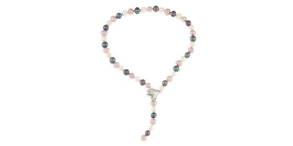 Dámský barevný perlový náhrdelník se srdíčkem Orchira
