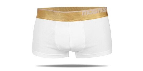 Pánské bílé boxerky s nohavičkou značky Mosmann z edice Gold