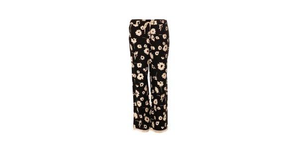 Dámské černé kalhoty značky DKNY s květinovým vzorem
