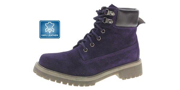 Dámské tmavě fialové semišové kotníkové boty Beppi