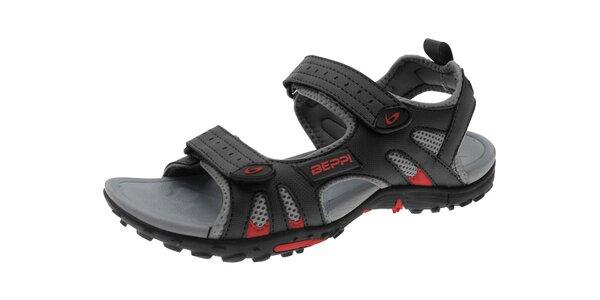 Pánské černé sandále se suchými zipy Beppi