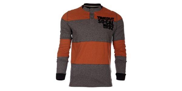 Pánské oranžovo-šedé proužkované tričko Timeout