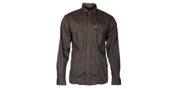 Pánská tmavě šedá proužkovaná košile Timeout