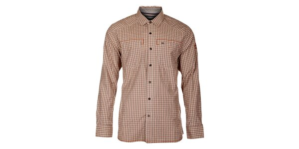 Pánská hnědo-šedá kostkovaná košile Timeout