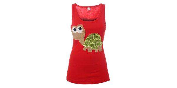 Dámské červené tílko Pussy Deluxe s želvou