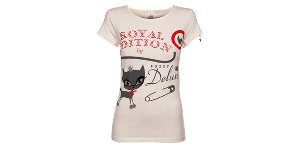 Dámské bílé tričko Pussy Deluxe s potiskem