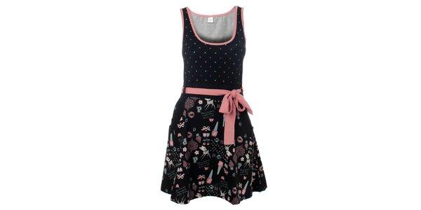 Dámské černo-růžové šaty Pussy Deluxe s potiskem