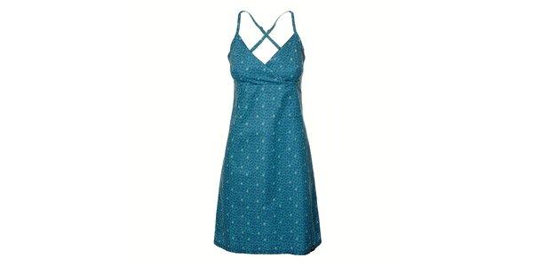 Dámské světle modré šaty Rejoice s tmavě modrými kytičkami