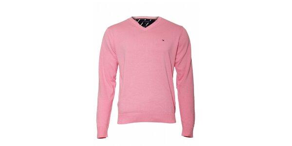 Pánský tmavě růžový svetr Tommy Hilfiger sVvýstřihem