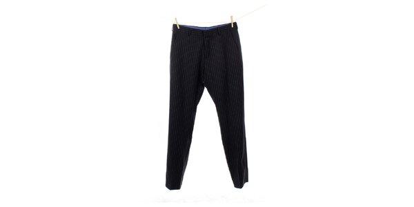 Pánské černé vlněné kalhoty s proužkem Tommy Hilfiger