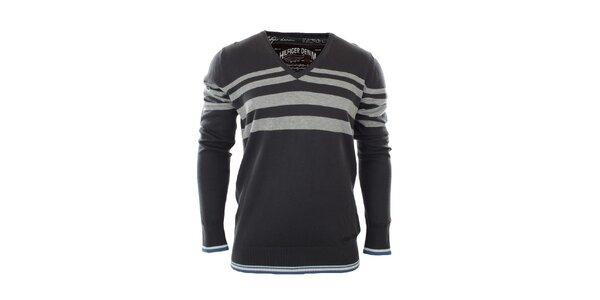 Pánský šedomodrý svetr s pruhy Tommy Hilfiger