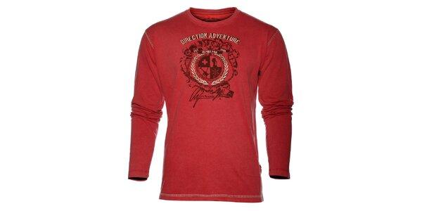 Pánské světle červené triko Alpine Pro s potiskem