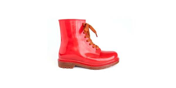 Dámské červené boty s oranžovými tkaničkami Via Bellucci