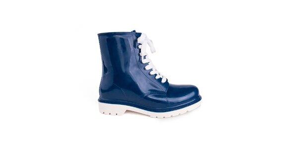 Dámské modré boty s bílými tkaničkami Via Bellucci