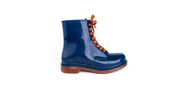 Dámské modré kotníkové boty s oranžovými tkaničkami Via Bellucci