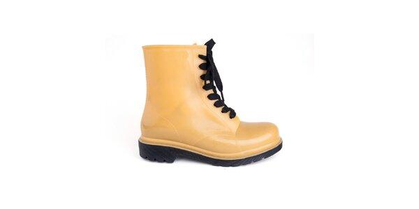 Dámské žluté boty s černými tkaničkami Via Bellucci
