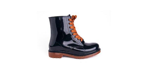 Dámské černé boty s oranžovými tkaničkami Via Bellucci