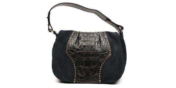 Dámská černá kožená kabelka s vnější zipovou kapsičkou Acosta