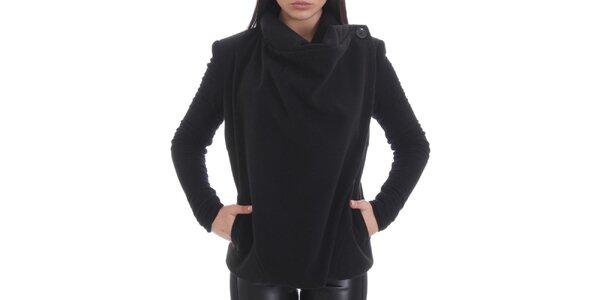 Dámský černý kabátek s bavlněnými rukávy Caramella Fashion