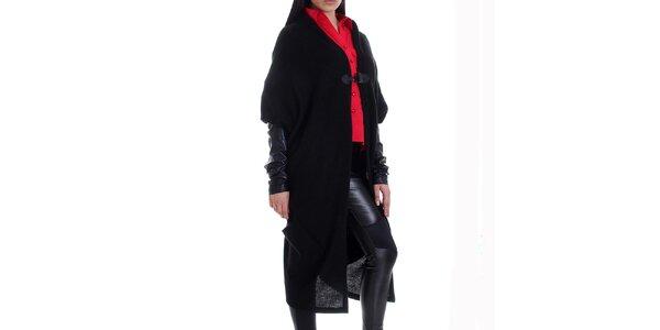 Dámský kašmírový černý svetrokabát s kapsami Caramella Fashion