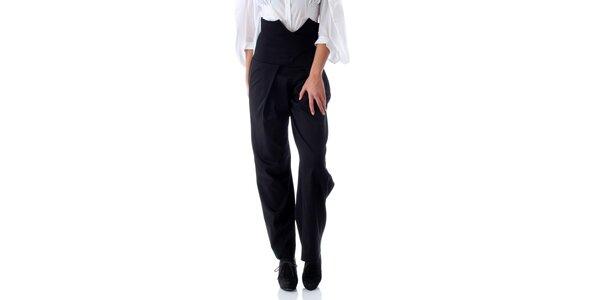 Dámské černé kalhoty se zavazováním na zádech Caramella Fashion