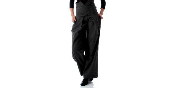 Dámské šedé kalhoty se zavazováním na zádech Caramella Fashion