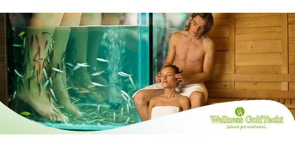 Zážitek na GolfYacht - privátní sauna a rybky Garra Rufa