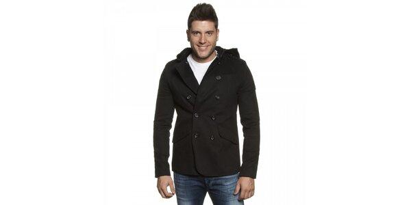 Pánské černé dvouřadové sako Lois s kapucí