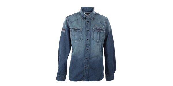 Pánská modrá džínová košile s šisováním Exe Jeans
