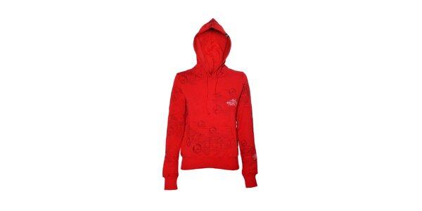 Dámská mikina značky Meatfly v červené barvě s potiskem