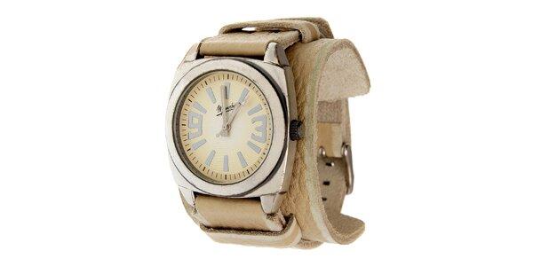 Dámské ocelové hodinky Memphis se širokým béžovým řemínkem