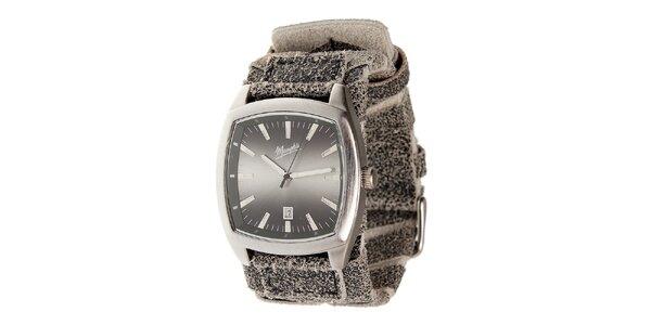 Stříbrné ocelové hodinky Memphis se žíhaným řemínkem