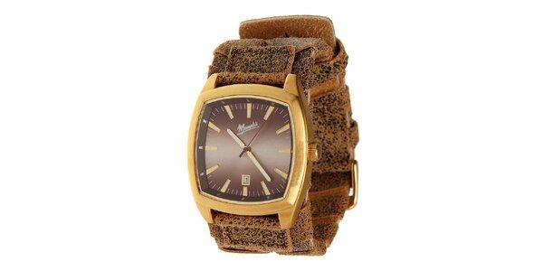 Zlaté ocelové hodinky Memphis se žíhaným řemínkem