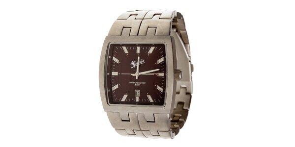 Ocelové hodinky Memphis s hnědým ciferníkem